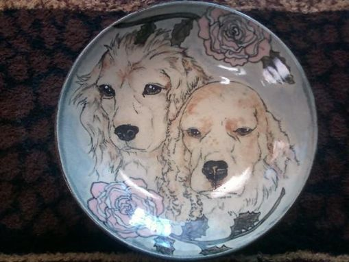 "Custom Made Wide-Mouthed Shallow Animal Portrait 9"" Bowls"