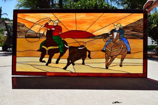 Custom Made Unique Cattle Roping At Sunset Stained Glass Window