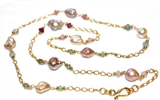 Custom Made Freshwater Pearl Station Necklace With Tourmaline
