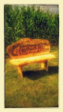 Custom Made 4' Wooden Custom Engraved Bench