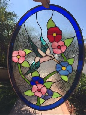 Custom Made Colorful Feeding Hummingbird & Flowers Stained Glass Window Suncatcher