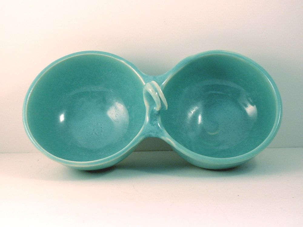 Custom Made Blue Double Serving Bowl Ceramic Pet Food