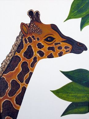 Custom Made Giraffe Nursery Art Safari Zoo Animal. Jungle Theme Kids / Baby Room Decor (Painting Not A Print).