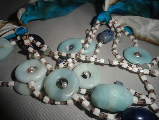 Custom Made Beaded Amazonite, Japanese Seed Bead Necklace W/Recycled Parachute Ribbon