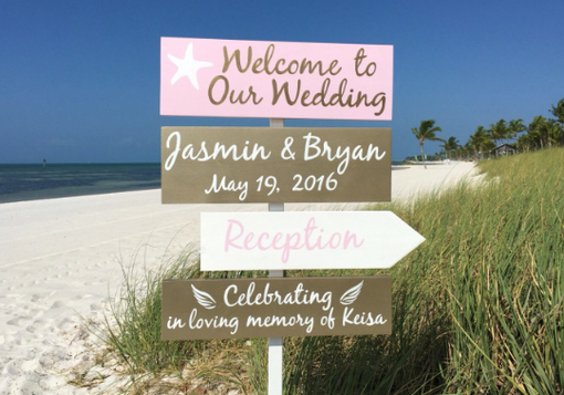 Custom Made Rose Gold Wedding Decor, Beach Welcome Wedding Sign