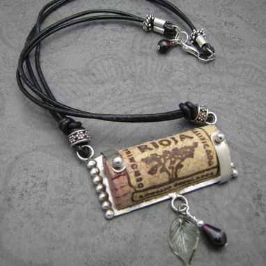 Custom Made Recycled Wine Cork And Sterling Necklaces On Leather