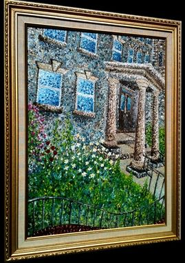 Custom Made Original Abstract Green Impasto Church Garden Daisies Impressionist Textured Rectory Painting