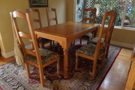 Custom Made White Oak Dining Table With Sideboard And Chairs