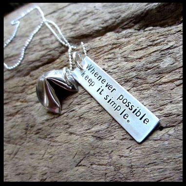 Custom Made Hand Stamped Silver Fortune Cookie Necklace