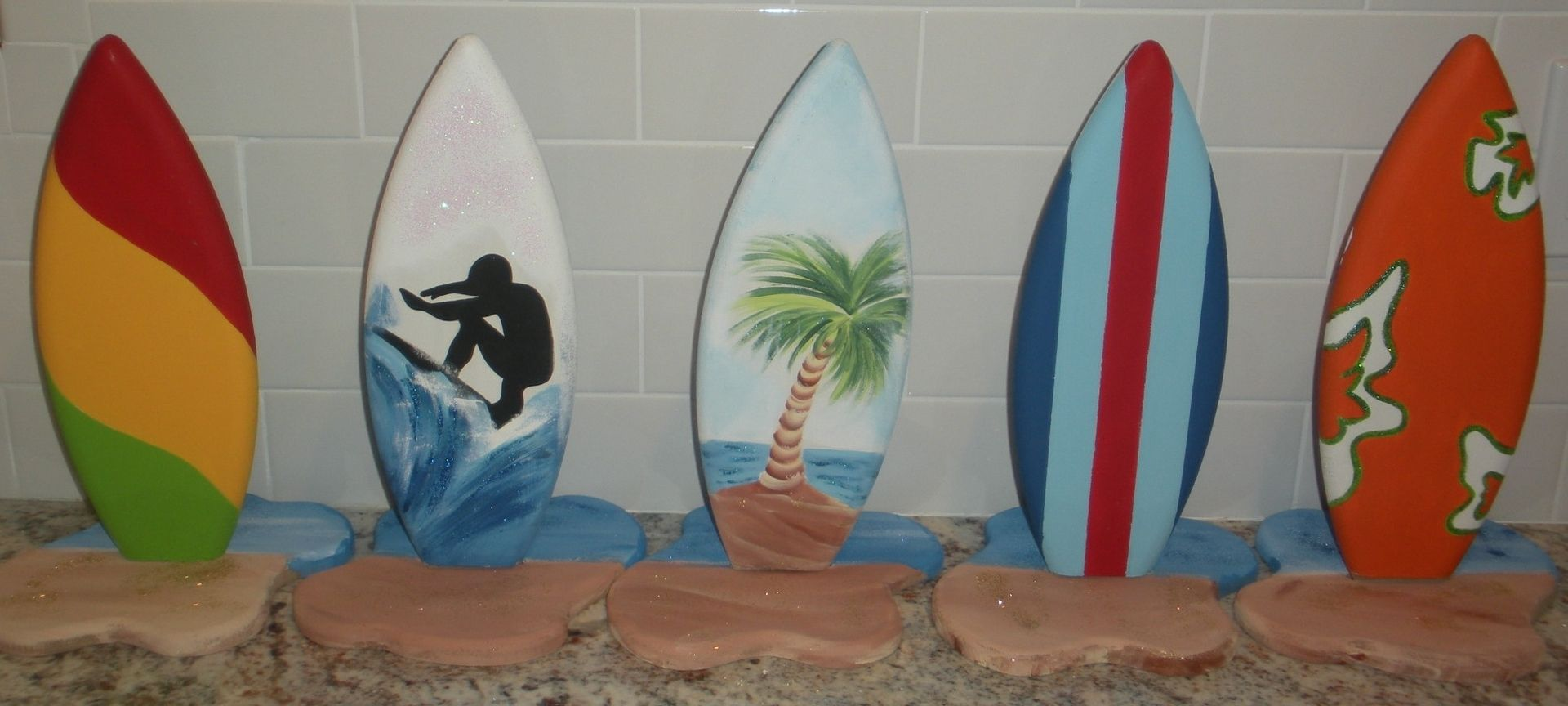 Handmade 1ft tall surf surfboard party table centerpiece for Surf decoration