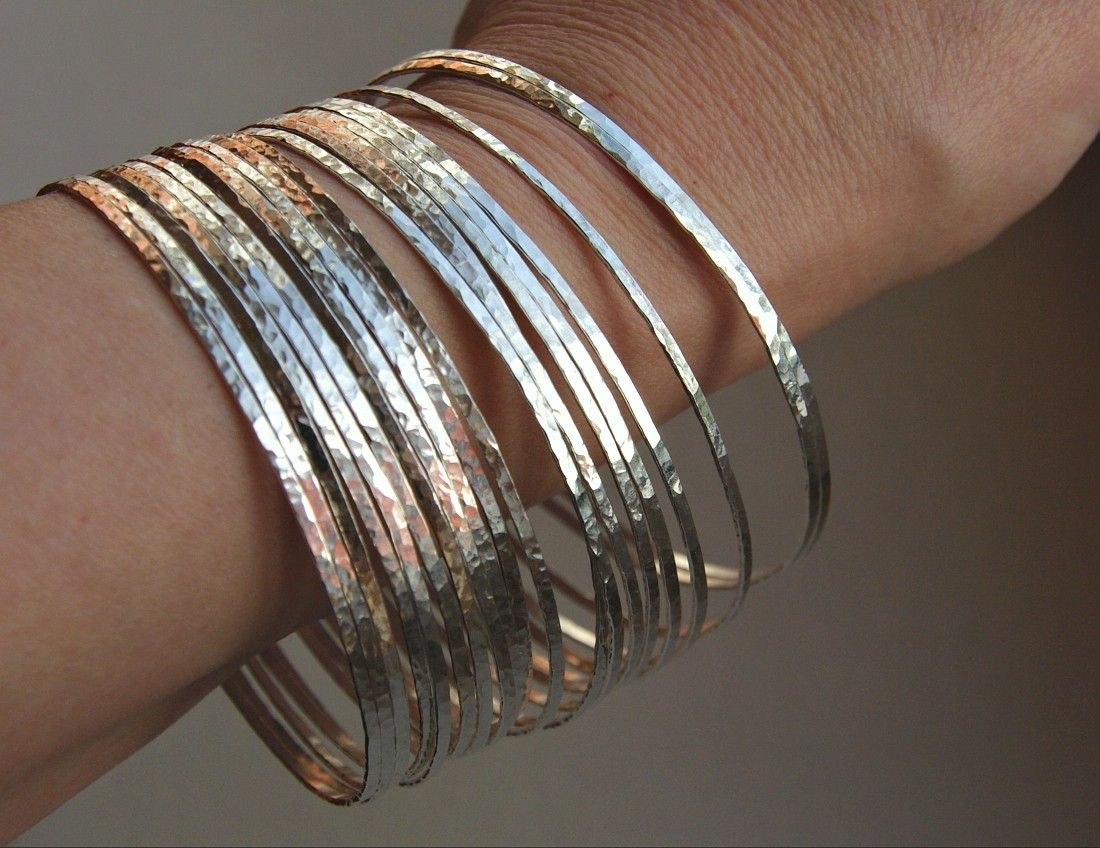 Custom Made 7 Thin Handmade Hammered Sterling Silver Stack Bangle Bracelets