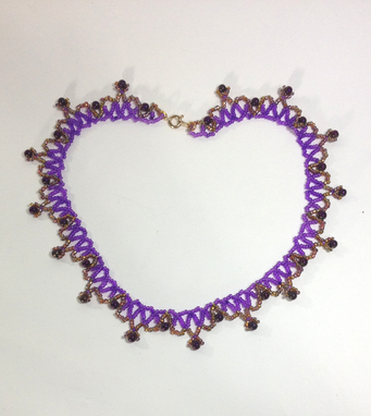 Custom Made Delicate And Feminine Hand-Beaded Royal Purple And Gold Necklace/Collar