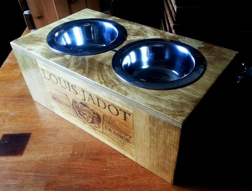 Custom Made Wine Crate Dog Bowl- Authentic Louis Jadot