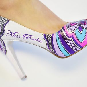 Hand Painted Wedding Shoes Bridal Heels Pink Flower By