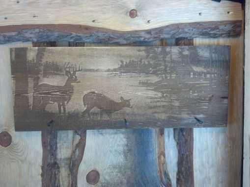 Custom Made Rustic Coat Pine Cost Hook With Rustic Nails &Laser Engraved Wildlife Scene