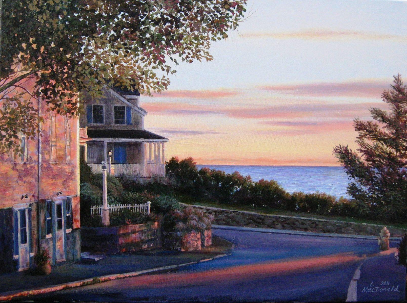 Custom Acrylic Painting Of New England Coastal Village By