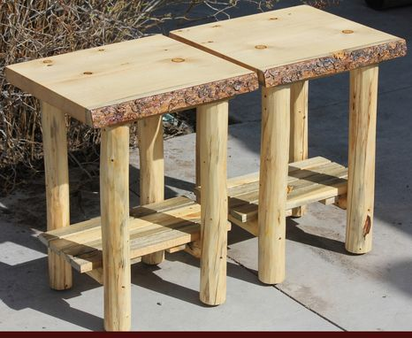 Hand Made Rustic Log End Tables Nightstands And Coffee Tables By The Rustic Woodshop
