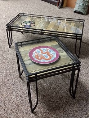 Custom Made Mid Century Style Vintage Pallet Glass Top End Or Side Table