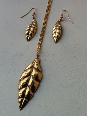 Custom Made Leaf Pendant And Earring Set.  Repousse In Red Brass.