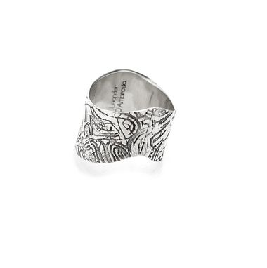 Custom Made Etched Sterling Silver Textured Ring - Wavy Curve Undulated Oxidised Silver Ring