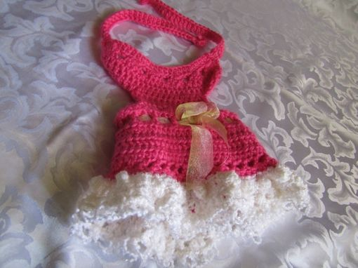 Custom Made Infant Toddler Girl Summer Crochet Dress In Pink And White  With Matchng Hat