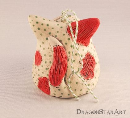 Custom Made Ceramic Cat Ornament Bell, Red White And Green Christmas Ornament