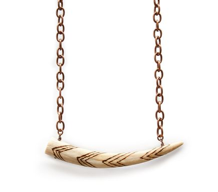 Custom Made Chevron Necklace On Copper Chain, Made From Antler Bone