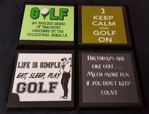 Custom Made Golf Quotes #1 Ceramic Tile Drink Coaster / Set Of 4
