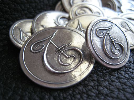 Custom Made Custom Blazer Buttons In Fine Silver Monogrammed Personalized Initialed Button Set