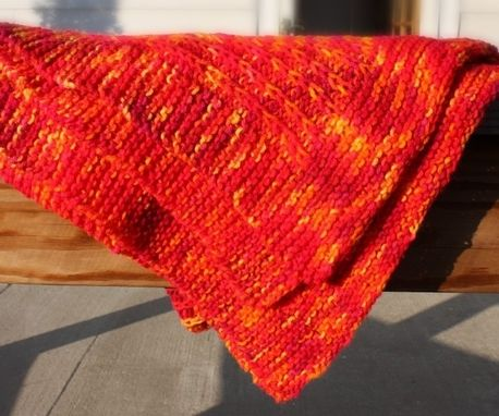 Custom Made Knitted Baby Blanket Orange Yellow Afghan Infant Warm