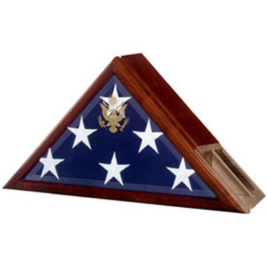 Custom Made Funeral Flag Case, Flag And Urn Built In