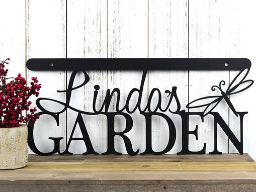 Custom Made Personalized Garden Sign, Free Shipping, Metal Garden Sign, Garden Decor, 18in X 8in