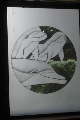 Custom Made Framed Etched Glass For Walls Or Windows Dolphins/ Wildlife