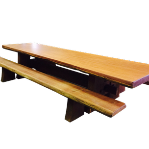 Angelim Pedra Harvest Table With Aru Benches By
