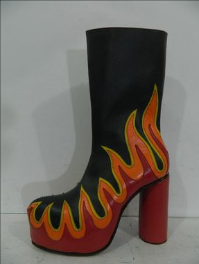 Custom Made Flames Platform Boots Inlay Flames Leather Boots Made To Order To Your Size
