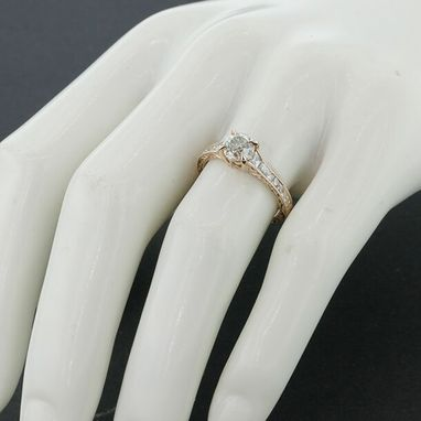 Custom Made Oec Diamond Waterfall Engagement Ring With Antique Diamond (Oec) Center Stone