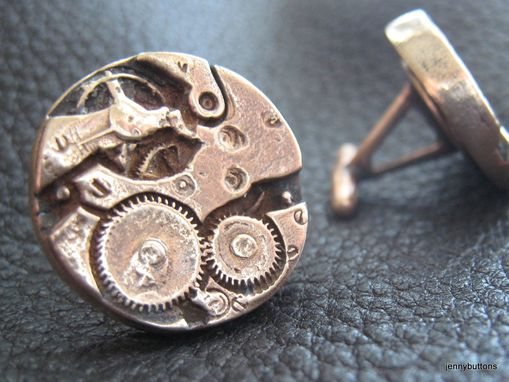 Custom Made Difference Engine Watch Gear Steampunk Cufflinks In Solid Bronze
