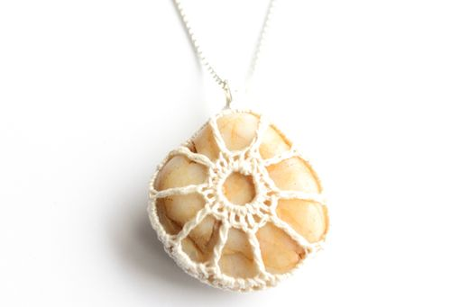 "Custom Made Ivory Wrapped Beige Stone Pendant On 18"" Chain"