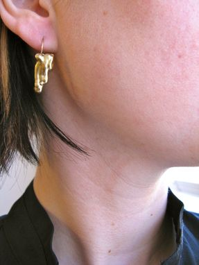 Custom Made Gold Bronze Long Dangle Earrings