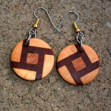 Custom Made Wood Earrings Of Poplar, Mahogany And Rosewood, Very Lightweight..L014