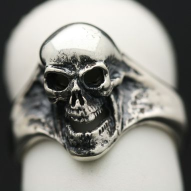 Custom Made Sterling Silver Screamer Skull Ring