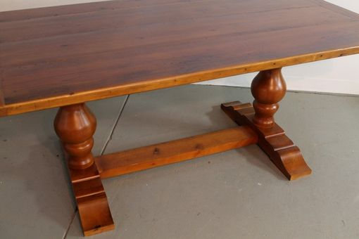 Custom Made Brown Cherry Tuscany Style Trestle Harvest Table
