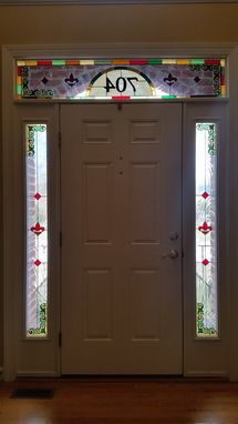 "Custom Made Stained Glass Set Of Windows -  ""Fleur De Lis And Robbons"" (W-94)"