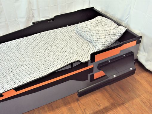 Custom Made X-Wing T-70 Starfighter Twin Kids Bed Frame - Handcrafted - Children's Bedroom Furniture