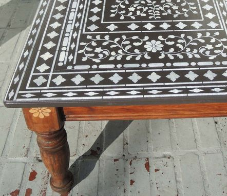 Custom Made Indian Inlay Stencil Coffee Table
