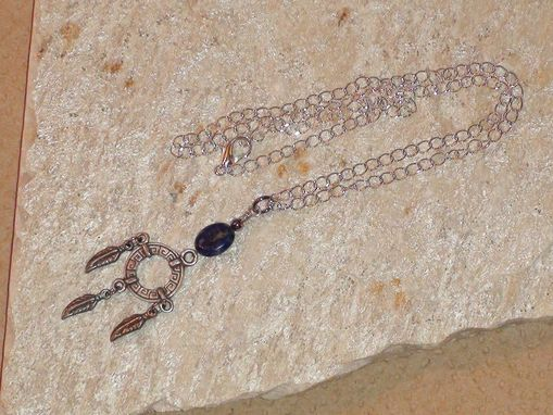 Custom Made Denim Lapis Lazuli And Pewter Feather Wheel Necklace In Silver