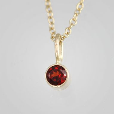 "Custom Made Garnet Drop Necklace 14ky Gold (16"")"