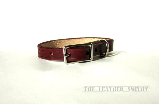 Custom Made Small Leather Dog Or Puppy Collar 1/2 Inch Wide