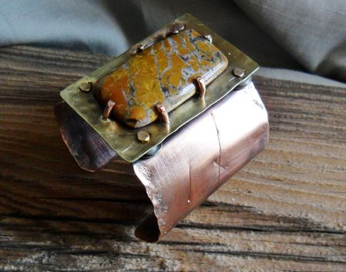 Custom Made Brass And Copper Riveted Cuff Bracelet With Stone Canyon Jasper