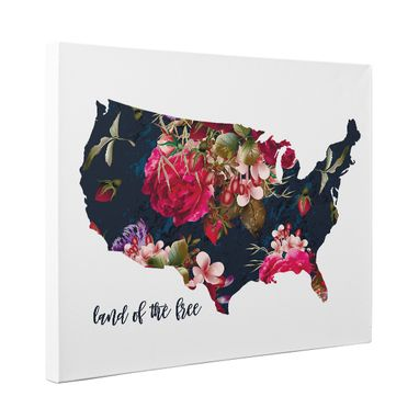 Custom Made Floral Usa Land Of The Free Canvas Wall Art